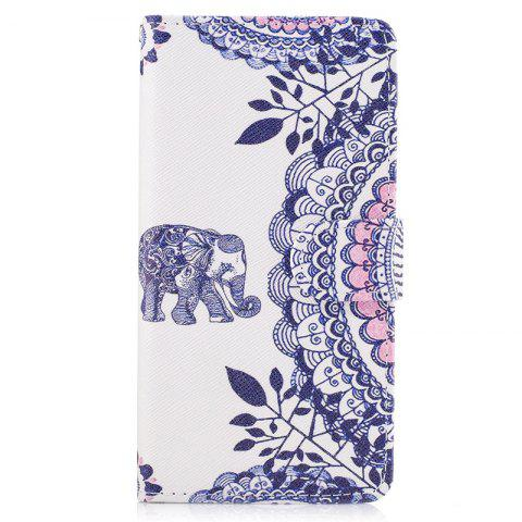 Bicycle Painting Card Lanyard Pu Leather Cover for HUAWEI P8 LITE 2017 - WHITE