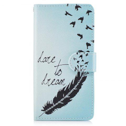 Bicycle Painting Card Lanyard Pu Leather Cover for HUAWEI P8 LITE 2017 - LIGHT BLUE