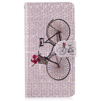 Bicycle Painting Card Lanyard Pu Leather Cover for HUAWEI P8 LITE 2017 - LIGHT GRAY LIGHT GRAY