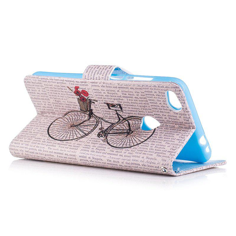 Bicycle Painting Card Lanyard Pu Leather Cover for HUAWEI P8 LITE 2017 - LIGHT GRAY