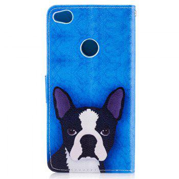Dog Painting Card Lanyard Pu Leather Cover for HUAWEI P8 LITE 2017 -  DEEP BLUE