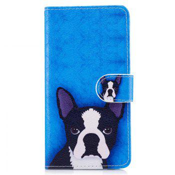 Dog Painting Card Lanyard Pu Leather Cover for HUAWEI P8 LITE 2017 - DEEP BLUE DEEP BLUE