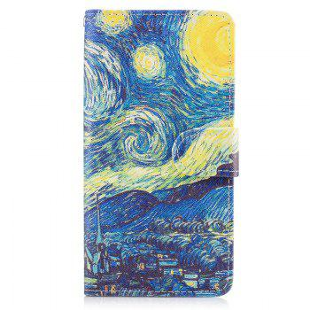 Dog Painting Card Lanyard Pu Leather Cover for HUAWEI P8 LITE 2017 - BLUE BLUE