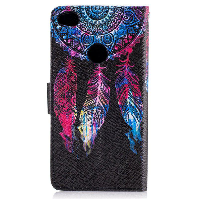 Dog Painting Card Lanyard Pu Leather Cover for HUAWEI P8 LITE 2017 - BLACK