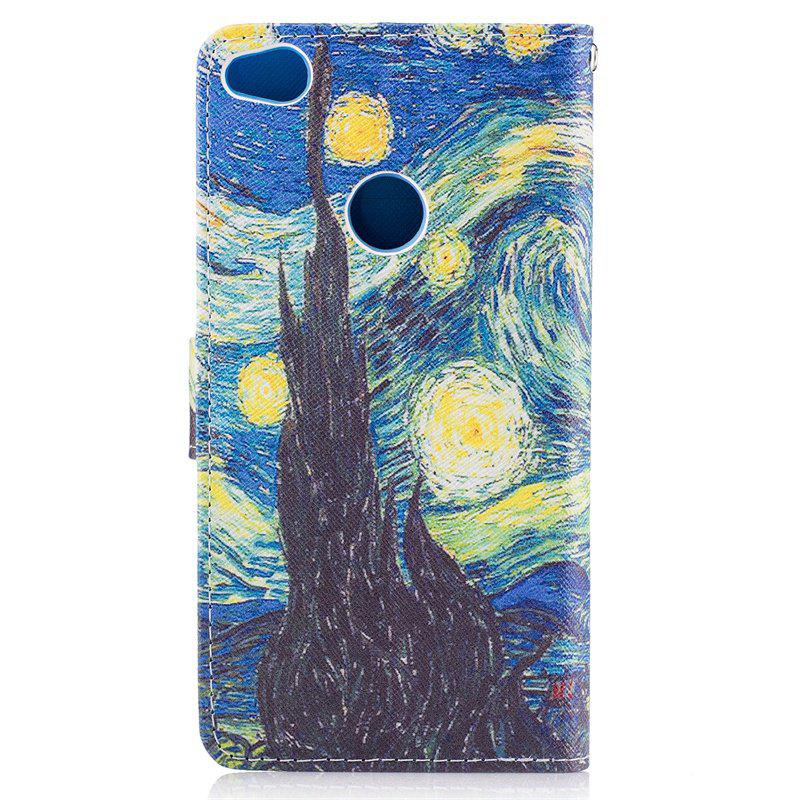 Dog Painting Card Lanyard Pu Leather Cover for HUAWEI P8 LITE 2017 - BLUE