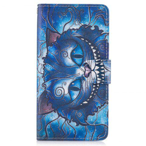 Blue Cat Painting Card Lanyard Pu Leather Cover for HUAWEI P8 LITE 2017 - DEEP BLUE