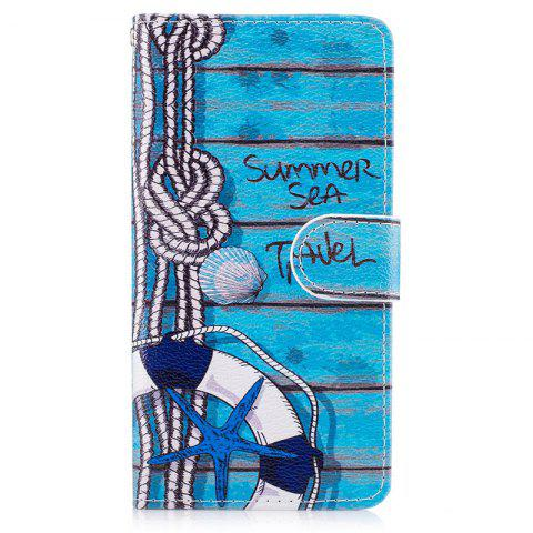 Blue Cat Painting Card Lanyard Pu Leather Cover for HUAWEI P8 LITE 2017 - BLUE