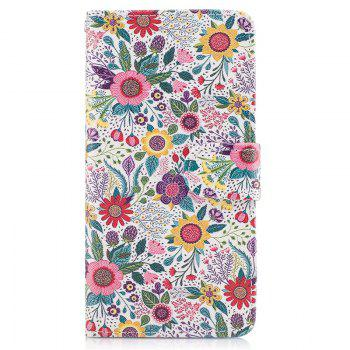 Blue Cat Painting Card Lanyard Pu Leather Cover for HUAWEI P8 LITE 2017 - LIGHT GRAY LIGHT GRAY