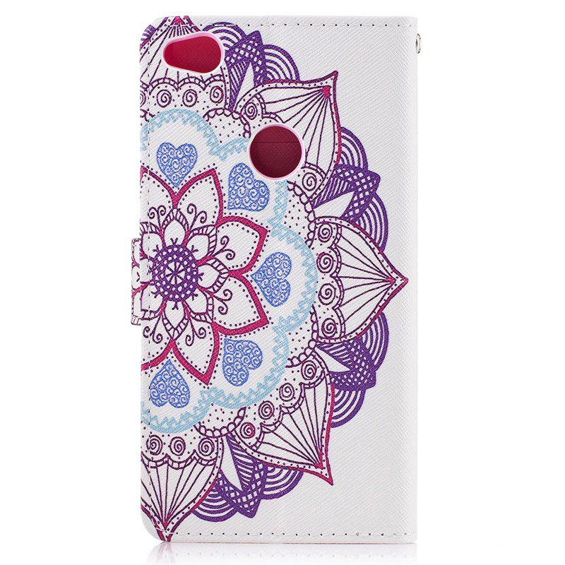 Blue Cat Painting Card Lanyard Pu Leather Cover for HUAWEI P8 LITE 2017 - WHITE