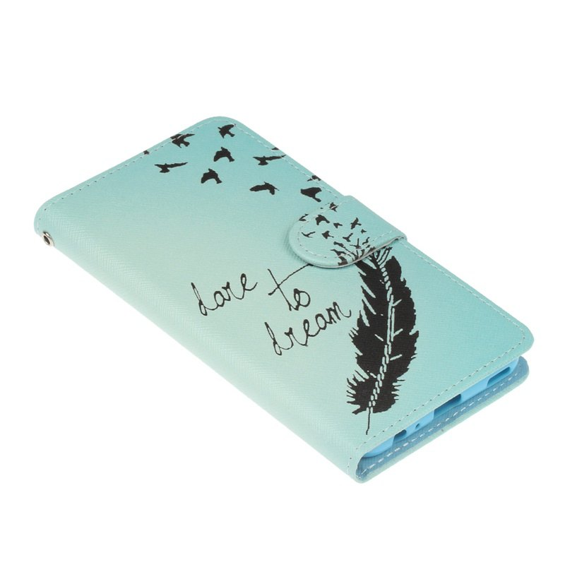 Bicycle Painting Card Lanyard Pu Leather Cover for HUAWEI P10 - LIGHT BLUE