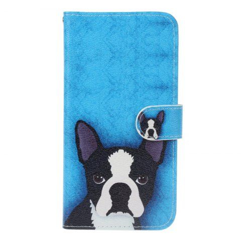 Dog Painting Card Lanyard Pu Leather Cover for Sony L1/E6 - DEEP BLUE