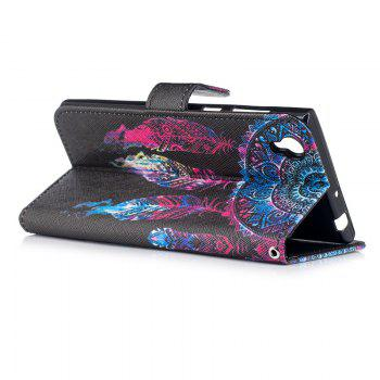 Dandelion Painting Card Lanyard Pu Leather Cover for Sony L1/E6 - BLACK