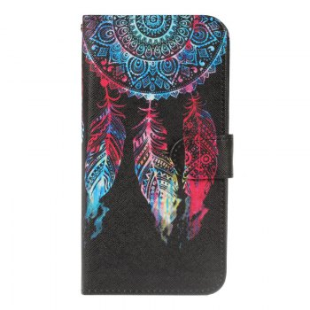 Dandelion Painting Card Lanyard Pu Leather Cover for Sony L1/E6 - BLACK BLACK