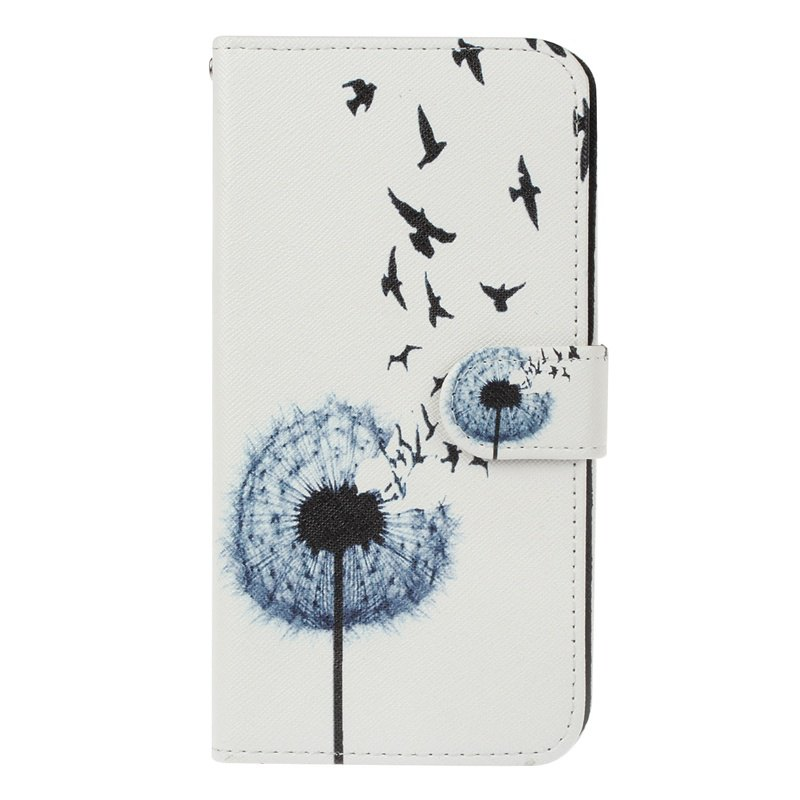 Dandelion Painting Card Lanyard Pu Leather Cover for Sony L1/E6 - WHITE