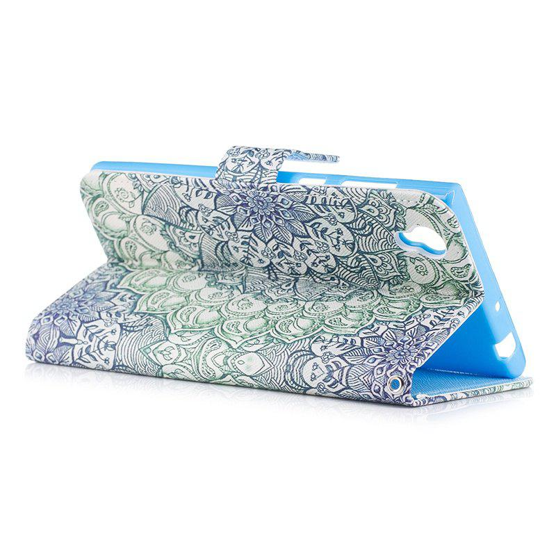 Dandelion Painting Card Lanyard Pu Leather Cover for Sony L1/E6 - LIGHT GRAY