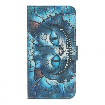 Blue Cat Painting Card Lanyard Pu Leather Cover for Sony L1/E6 - DEEP BLUE DEEP BLUE