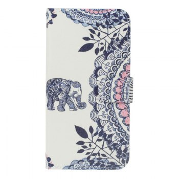 Blue Cat Painting Card Lanyard Pu Leather Cover for Sony L1/E6 - WHITE WHITE