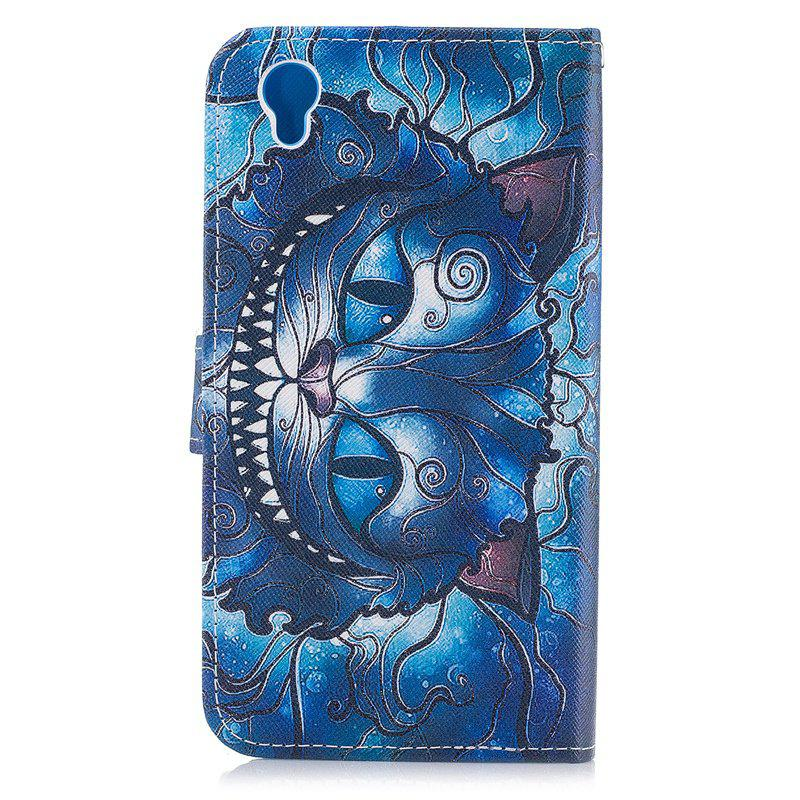 Blue Cat Painting Card Lanyard Pu Leather Cover for Sony L1/E6 - DEEP BLUE