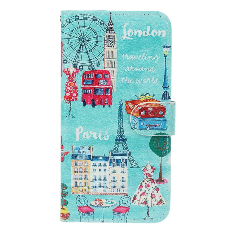 Blue Cat Painting Card Lanyard Pu Leather Cover for Sony L1/E6 - OASIS