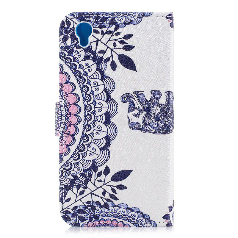 Blue Cat Painting Card Lanyard Pu Leather Cover for Sony L1/E6 - WHITE