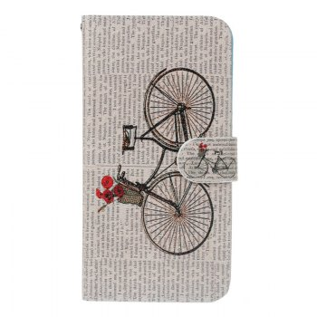 Bicycle Painting Card Lanyard Pu Leather Cover for Sony L1/E6 - LIGHT PINK LIGHT PINK