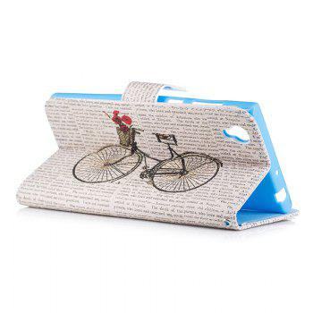 Bicycle Painting Card Lanyard Pu Leather Cover for Sony L1/E6 -  LIGHT PINK