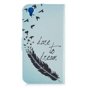 Bicycle Painting Card Lanyard Pu Leather Cover for Sony L1/E6 - LIGHT BLUE
