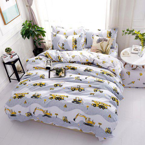 Fashion Excavator Personalized Polyester Bedding Set - WHITE QUEEN