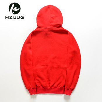 Pure Cotton and Velvet Printed Hoodie - RED S