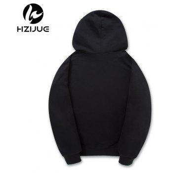 Pure Cotton and Velvet Printed Hoodie - BLACK S