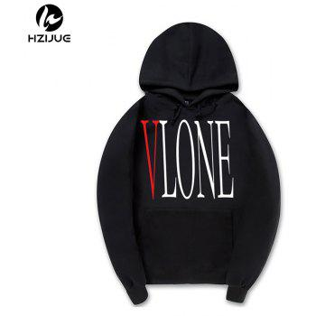Street Fashion Men'S Printed Hoodie - BLACK L