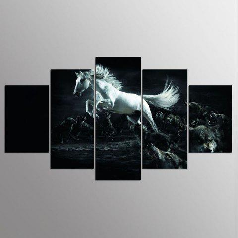 YSDAFEN HD Imprimer 5 Pcs Toile Art Cheval Mur Art Image Salon Décor Impression - multicolore 30X40CMX2+30X60CMX2+30X80CMX1(12X16INCHX2+12X24INC
