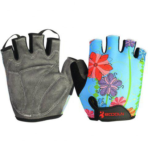 Gym Gloves Men Women Body Building Fingerless Fitness Half Glove Anti Slip Weight Lifting Sport Training for Women Girl - FLOWER S