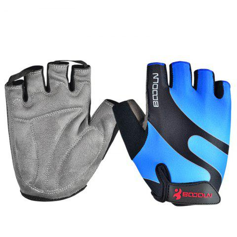 Gym Gloves Men Women Body Building Fingerless Fitness Half Glove Anti Slip Weight Lifting Sport Training for Women Girl - BLUE M