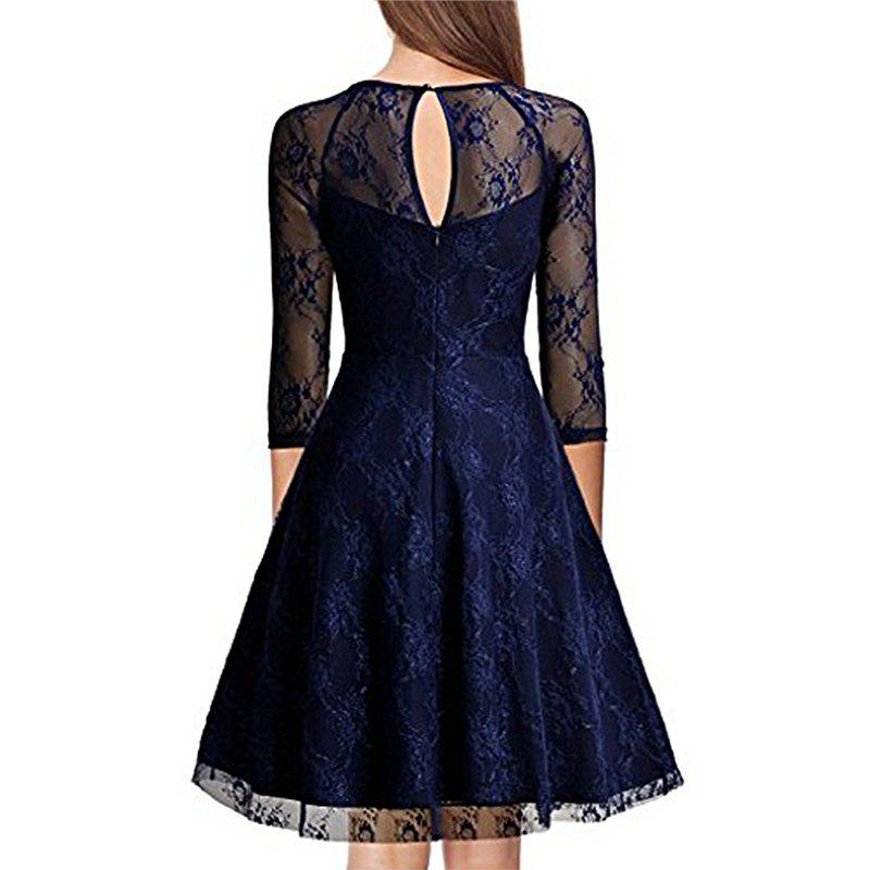 Vintage 50s 60s 2017 Women O Neck Slim Sexy Sheer A-Line Pin up Rockabilly Solid 3/4 Sleeve A-Line Fashion  Lace Dress женские чулки na s sheer