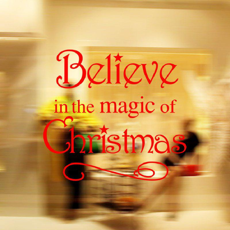 DSU Believe in The Magic of Christmas Living Room Bedroom Window Wall Stickers, Red