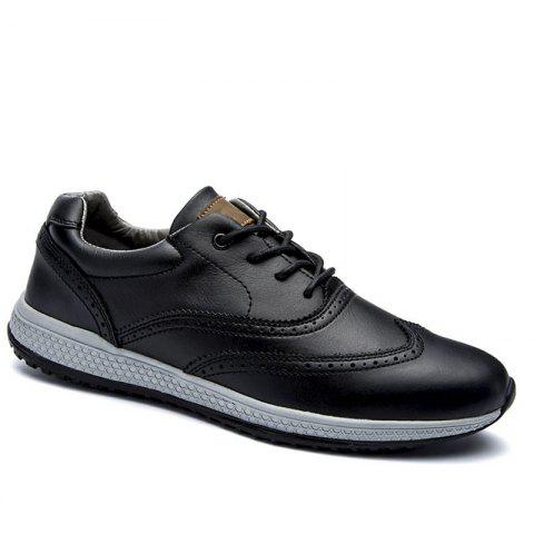 Men Leather Shoes Outdoor Sport Big Size Anti-Skid Tourism Sneakers - BLACK 46