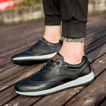 Men Leather Shoes Outdoor Sport Big Size Anti-Skid Tourism Sneakers - BLACK 45