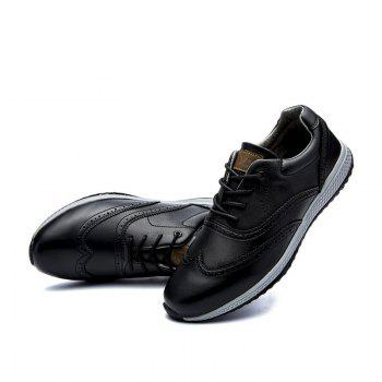 Men Leather Shoes Outdoor Sport Big Size Anti-Skid Tourism Sneakers - BLACK 43