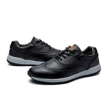 Men Leather Shoes Outdoor Sport Big Size Anti-Skid Tourism Sneakers - BLACK 44