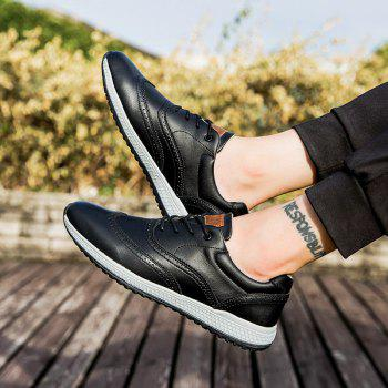 Men Leather Shoes Outdoor Sport Big Size Anti-Skid Tourism Sneakers - BLACK 41