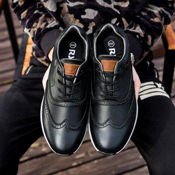 Men Leather Shoes Outdoor Sport Big Size Anti-Skid Tourism Sneakers - BLACK 42