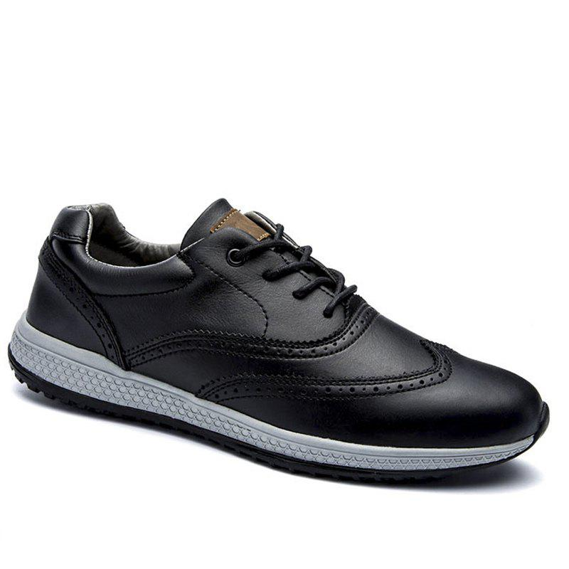 Men Leather Shoes Outdoor Sport Big Size Anti-Skid Tourism Sneakers - BLACK 40