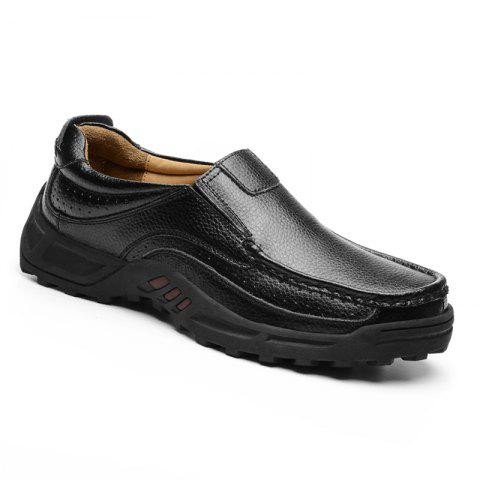 Men Leather Shoes Business Outdoor Sport Big Size Anti-Skid Tourism Sneakers - BLACK 46