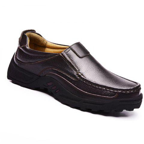 Men Leather Shoes Business Outdoor Sport Big Size Anti-Skid Tourism Sneakers - BROWN 38