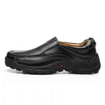 Men Leather Shoes Business Outdoor Sport Big Size Anti-Skid Tourism Sneakers - BLACK 44