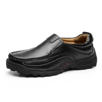 Men Leather Shoes Business Outdoor Sport Big Size Anti-Skid Tourism Sneakers - BLACK 39