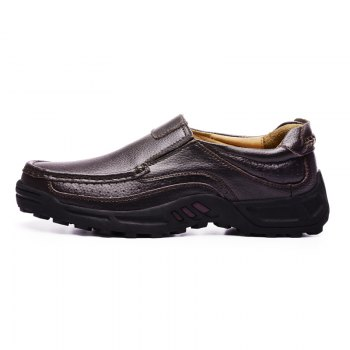 Men Leather Shoes Business Outdoor Sport Big Size Anti-Skid Tourism Sneakers - BROWN 39