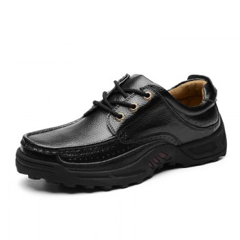 Male Leather Shoes Anti-Skid for Business / Outdoor - BLACK 38