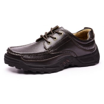 Male Leather Shoes Anti-Skid for Business / Outdoor - BROWN 46